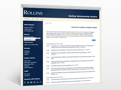 Master of Liberal Studies Theses at Rollins College